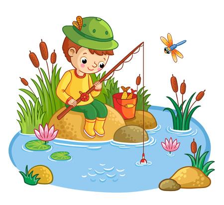 소년은 바위에 앉아 연못에서 물고기를 잡는다. 자연과 함께 만화 스타일의 벡터 일러스트 레이 션.