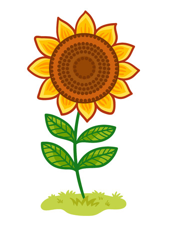 The sunflower is in the clearing. Vector illustration with yellow flower.