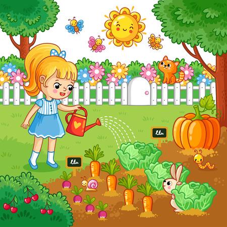 女の子は野菜の庭のベッドに水をまきます。農業の漫画のスタイルで作物とベクトル図です。農作業。