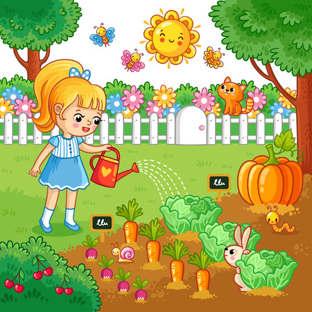 Girl is watering garden bed with vegetables. Vector illustration with farming crops in cartoon style. Agricultural work.
