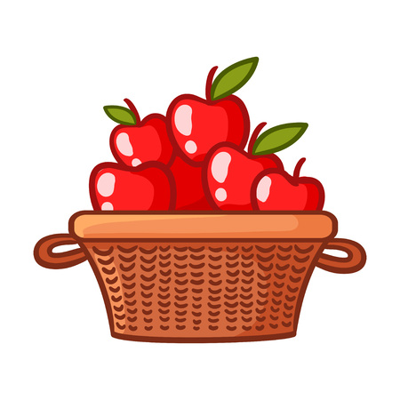 Basket with apples on a white background. Vector illustration with fruits in cartoon style.