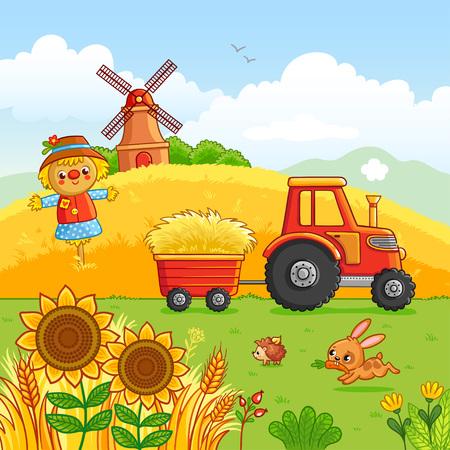 트랙터는 초원 통해 장바구니에 건초를 운반합니다. 만화 스타일의 농장 기법으로 벡터 일러스트 레이 션. 들판에 방앗간과 동물들이 놓여있었습니다. 일러스트