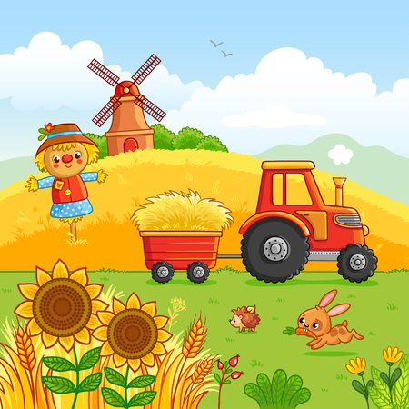 Tractor carries a hay in a cart through a meadow. Vector illustration with a farm technique in a cartoon style. It was laid out, mill and animals in the field. Stock Illustratie