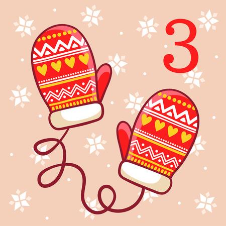 calendar design: Vector Christmas advent calendar in childrens style. Warm winter mittens on a beige background. Christmas illustration. Illustration