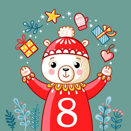 Vector Christmas advent calendar in childrens style. Christmas polar bear juggles with gifts. Cute illustration with animals.