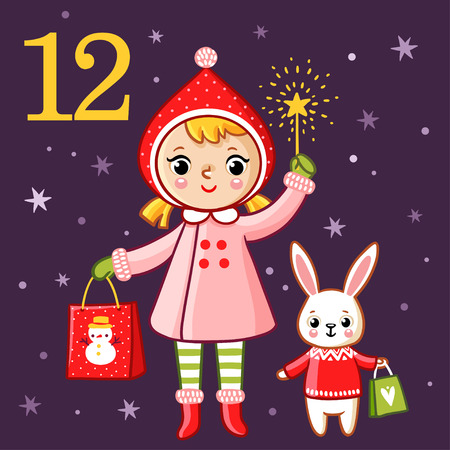 Sweet girl and bunny are holding presents. Illustration