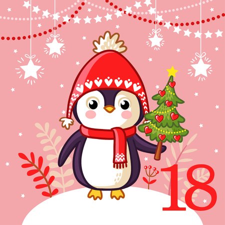 Cute penguin lies Christmas tree.
