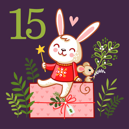 Cute smiling rabbit sits on a box with a gift.