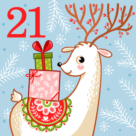 Vector christmas advent calendar in childrens style. Cute deer with Christmas gifts on his back. Illustration with an animal. Illusztráció