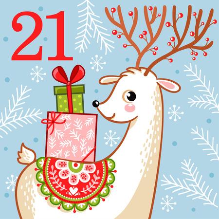 Vectorkerstmiskomstkalender in de stijl van kinderen. Leuke herten met kerstcadeaus op zijn rug. Illustratie met een dier. Stockfoto - 87779650