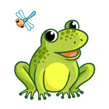 Frog is sitting on a white background. Cute illustration with dragonfly and frog in a cartoon style. Illustration