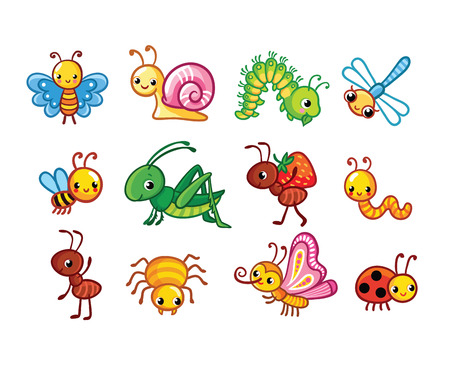 Set of vector insects. Collection of insects in a cartoon style.