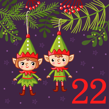 vector vector christmas advent calendar in childrens style cute christmas decorations in the form of elves hang on the christmas tree - Animated Christmas Elves Decorations