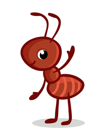 Vector illustration with a cute ant. Insect in the childrens cartoon style. Ilustracja