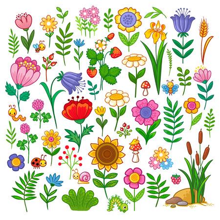 Vector con flores. Una dulce colección de insectos y plantas en el estilo de dibujos animados para niños. Ilustración de vector