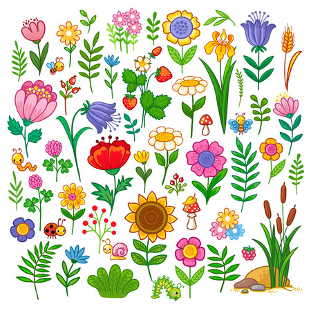 Wektor zestaw z kwiatami. Słodka kolekcja owadów i roślin w stylu kreskówki dla dzieci. Ilustracje wektorowe