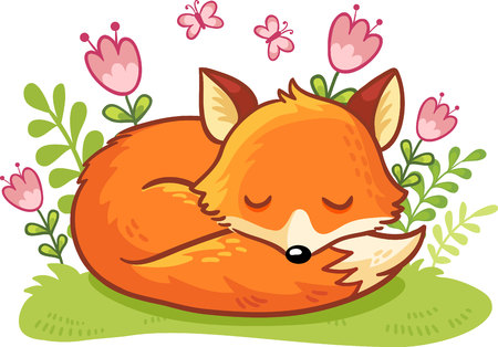 The fox is asleep on a flower clearing. Vector illustration with cute forest animal in cartoon style.