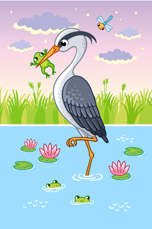 Vector illustration with a bird in cartoon style. Cute heron in a beak holds a frog. Illustration
