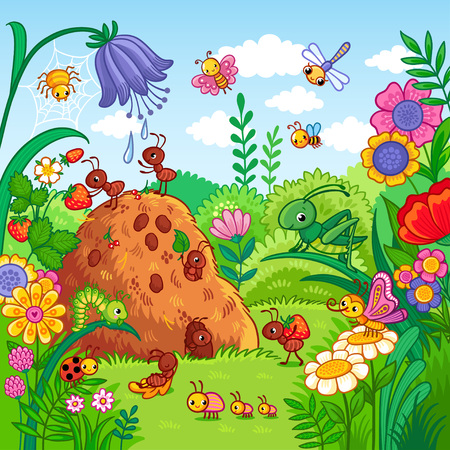 Vector illustration with an anthill and insects. Nature, flowers and insects in the childrens style. Ilustração