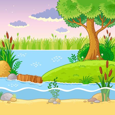 castor: Ilustración de vector con una presa de castores. Naturaleza en el estilo de dibujos animados. Lindo agua