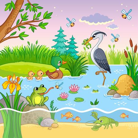 Vector con naturaleza y animales en el estilo de dibujos animados para niños. Cangrejos preciosos y peces en el agua.