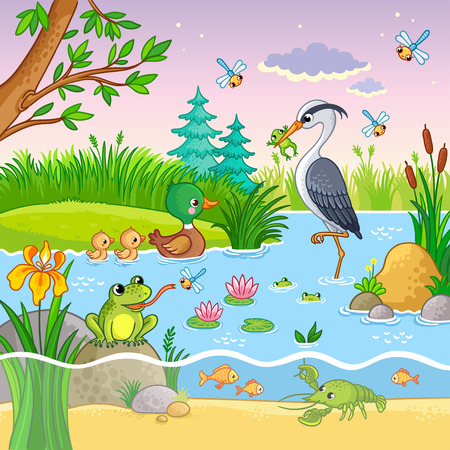 Vector set with nature and animals in the childrens cartoon style. Lovely crawfish and fish on water.