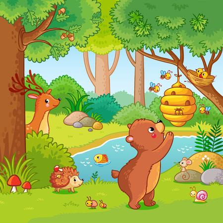 Illustration of bear who wants honey.