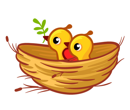 Vector illustration of the chicks sitting in the nest. Birds in the cartoon style of children.