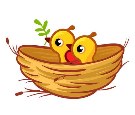 Vector Illustration der Küken, die im Nest sitzen. Vögel in der Karikaturart von Kindern. Standard-Bild - 89264134