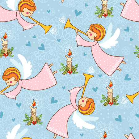Christmas pattern with angels playing the trumpet. Vector seamless illustration on a Christmas theme.