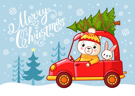 Christmas card with a teddy bear and a hare that go by car. Vector illustration with cute animals. Animals drive a Christmas tree on the car.