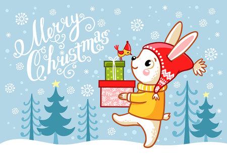 プレゼントを運ぶウサギのクリスマスカード ベクトルイラスト