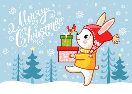 Christmas card with a hare carrying gifts Vector illustration 일러스트