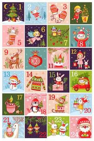 Vector Christmas advent calendar in children's style illustration Stock Illustratie