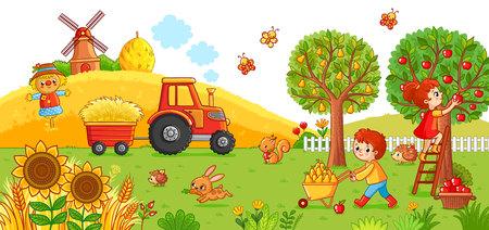 Vektorabbildung auf einem landwirtschaftlichen Thema. Der Traktor auf dem Feld reinigt das Heu. Junge und Mädchen ernten.