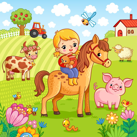 The girl sits on a horse and holds a rabbit in her hands. Vector illustration with animals on the farm.