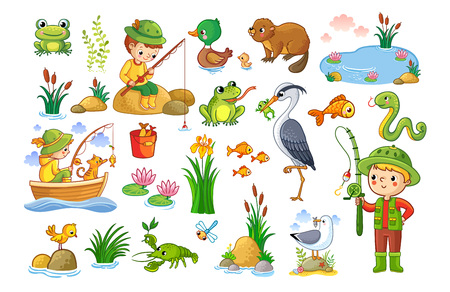 Vector set on a forest children theme. An animal pond. Children are fishing. Collection of vector illustration. Illustration