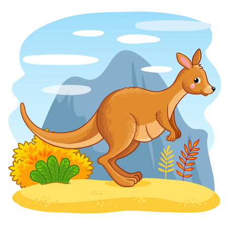 Cute kangaroos jumping through the sand. Vector animal with an Australian animal. Vectores