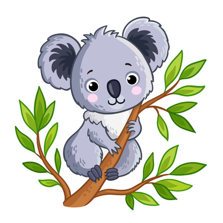 Cute panda sitting on a tree. Vector illustration with an animal in a childrens and cartoon style.