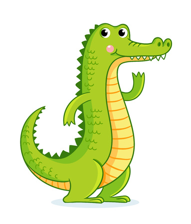 Crocodile on white background in cartoon style. Cute animal on a childrens theme. Ilustração