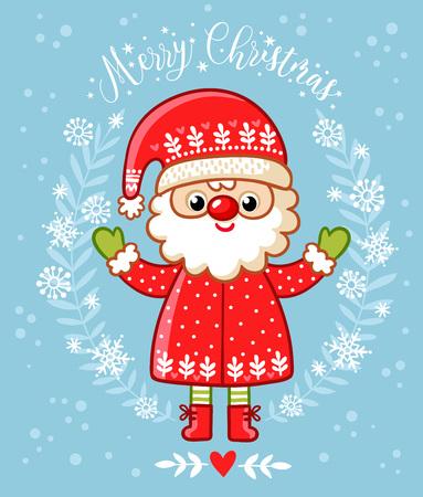 Christmas card with Santa Claus. Vector illustration for Christmas theme. Ilustração