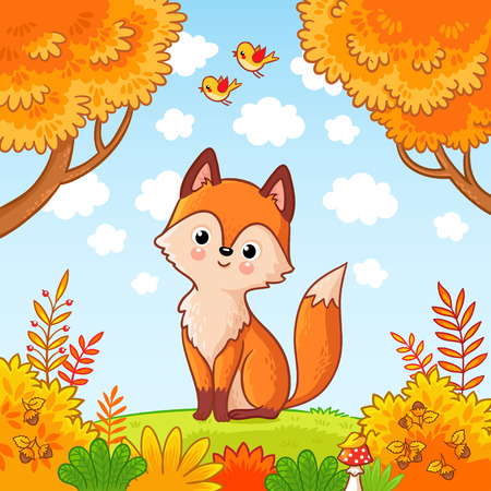 The fox sits in a clearing in the forest. Cute animal. Vector illustration with a predator in a childrens style.