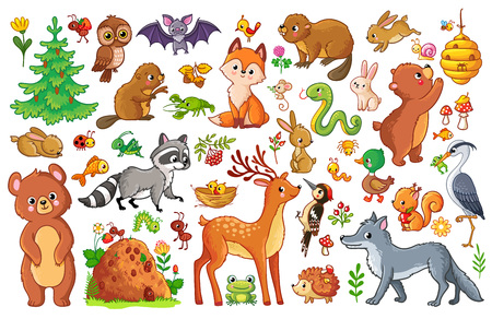 Vector set with animals and birds in a children's style. Collection of insects and mammals in cartoon style.