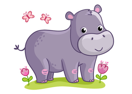 Hippo standing in the meadow with flowers. Cute animal in the cartoon style. Vector illustration on a childrens theme. Stock Illustratie