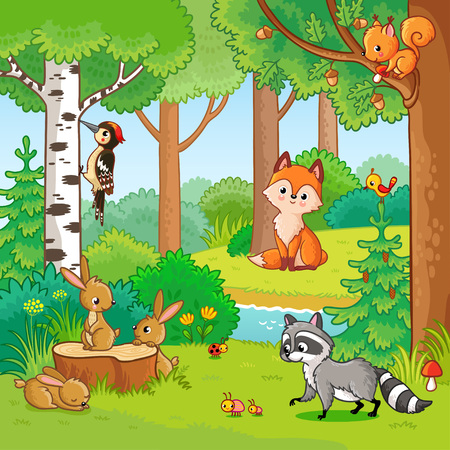 Vector illustration with cartoon animals in the forest. Picture in the childrens style. Set of animals. Stock Illustratie
