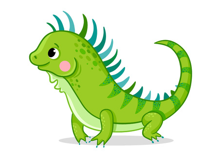Cute iguana on a white background. Vector illustration with an animal in cartoon style. Picture on a childrens theme.