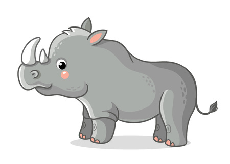 Rhinoceros stands on a white background. Cute animal in the cartoon style. Vector illustration on a childrens theme.
