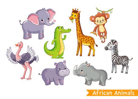 Set with animals of Africa in cartoon style. Vector illustration on a childrens theme.
