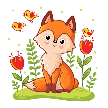 Cute fox sidit on a flower meadow. Vector illustration with an animal in a mushy style. Picture on a childrens theme.