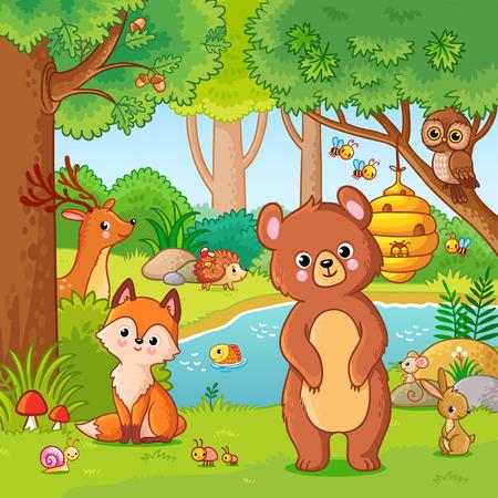 Fuchs und Bär im Wald. Vektorillustration mit wilden Tieren. Fliegender Wald im Karikaturstil.